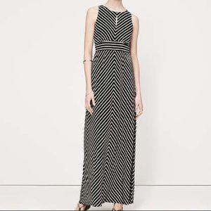 LOFT Mitered Stripe Maxi Dress